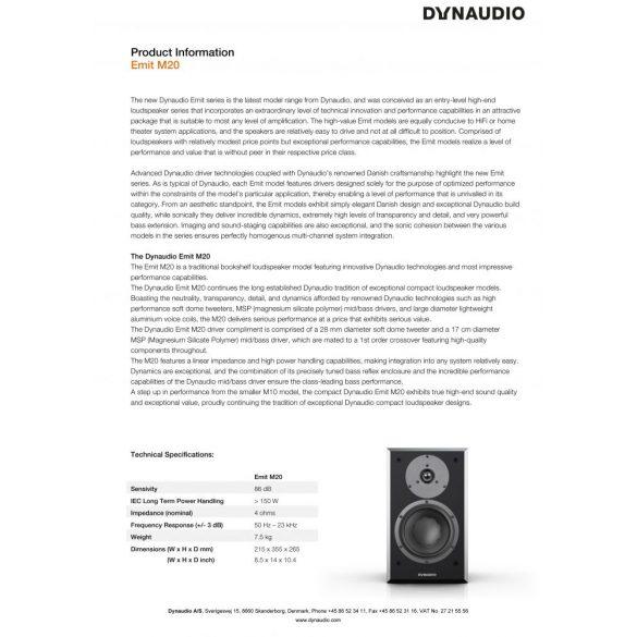 Dynaudio Emit M20 állványos hangfal - Satin Black