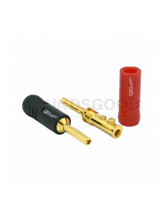 QED SCREWLOC QE1870 hangfal csatlakozó (1 db fekete / 1 db piros), 2 db-os banándugó szett